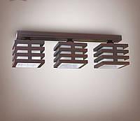 Люстра 3 ламповая, деревянная для небольшой комнаты, кухни, прихожей