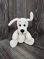 Мягкая вязаная  игрушка ручной работы Собака 15 см для детей