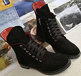 Pepe! Женские замшевые кожаные полу ботинки на низком ходу со змейкой и шнуровкой очень удобные, фото 3