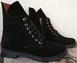 Pepe! Женские замшевые кожаные полу ботинки на низком ходу со змейкой и шнуровкой очень удобные, фото 5