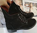 Pepe! Женские замшевые кожаные полу ботинки на низком ходу со змейкой и шнуровкой очень удобные, фото 8