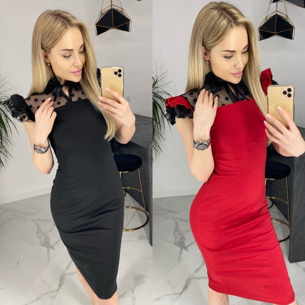 Платье женское, футляр, повседневное, нарядное, верх и рукав сетка флок в горошек,  модное, офисное