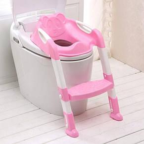 Детское сиденье на унитаз со ступенькой Baby, розовое, фото 2