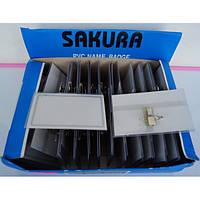 Бейдж пластиковый 25мкм (5,7х9,2см с зажимом и булавкой) Сакура A-plus уп50, фото 1