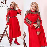 Стильное платье с сеткой в горошек Размер: 52-54, 56-58, 60-62, 64-66 арт 0316