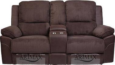 Диван прямой с реклайнером двухместный Брукс ткань коричневый ТМ Bellini, фото 2