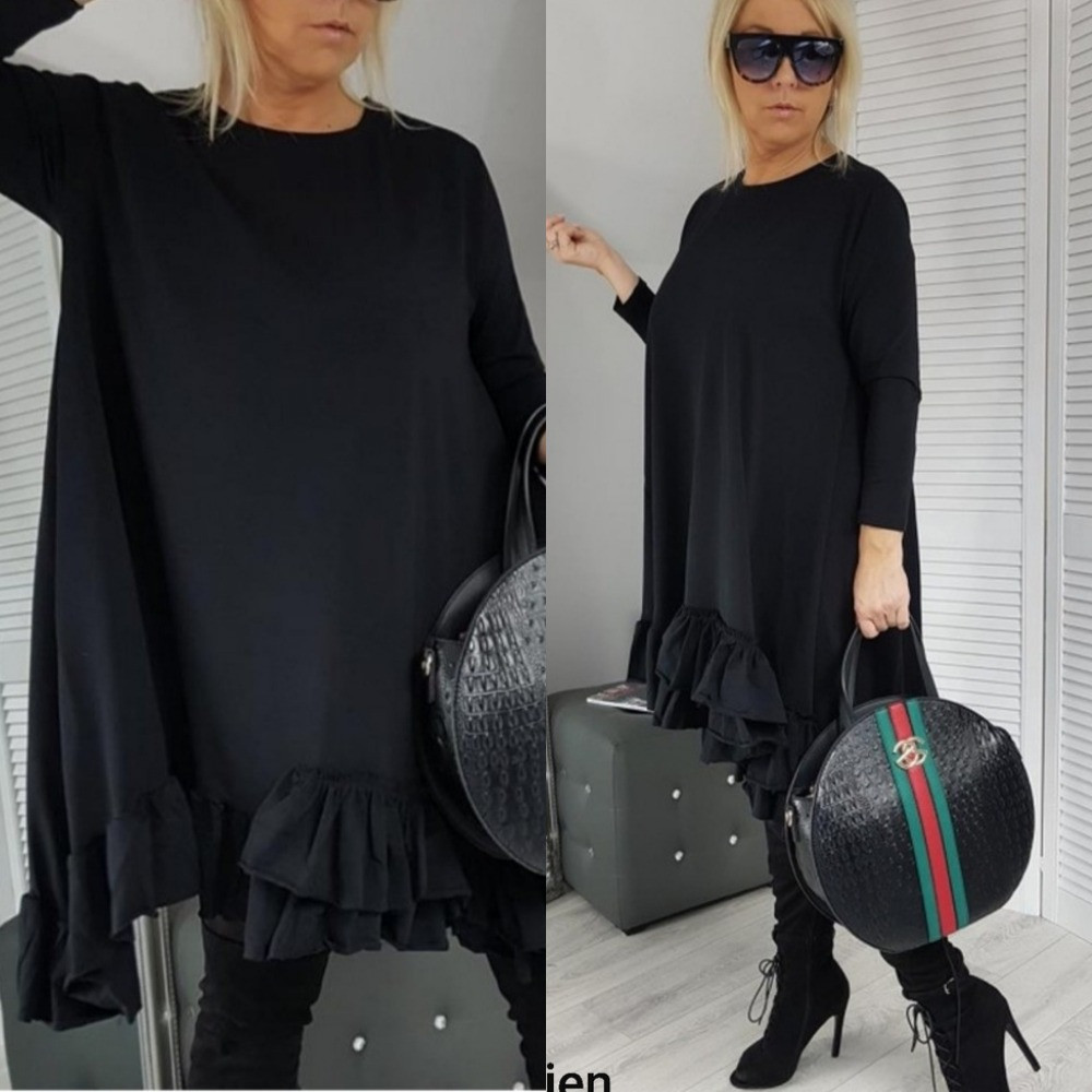 Платье туника, женская, повседневная, короткая, трапеция, свободное, с оборкой, до 64 р-ра