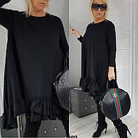 Платье туника, женская, повседневная, короткая, трапеция, свободное, с оборкой, до 64 р-ра, фото 1