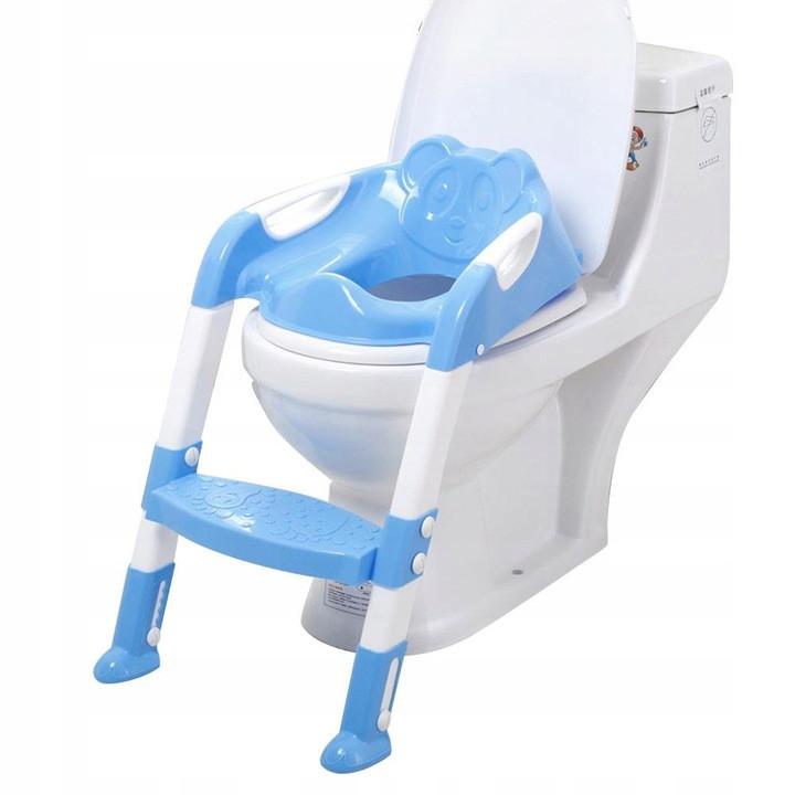 Детское сиденье на унитаз со ступенькой Baby, голубое