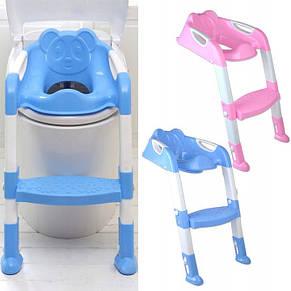 Детское сиденье на унитаз со ступенькой Baby, голубое, фото 3