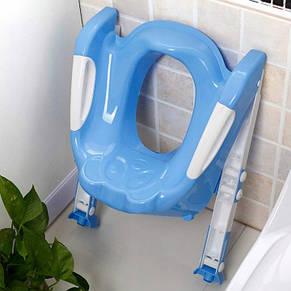 Детское сиденье на унитаз со ступенькой Baby, голубое, фото 2