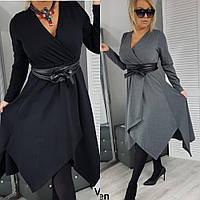 Платье женское нарядное, повседневное, большого размера, молодежное, модное, офисное, пояс в комплекте, до 62