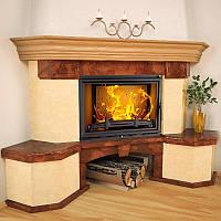 Портал для камина (облицовка) Парма из натурального мрамора Rosso Asiago, Giallo Atlantide