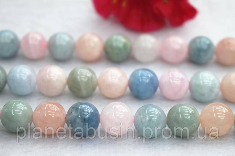 10 мм Натуральный Морганит, Натуральный камень, Форма: Шар, Отверстие: 1.1-5 мм, кол-во: 38-40  шт/нить