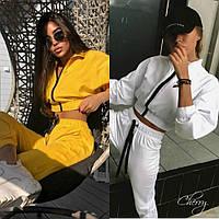 Костюм спортивный женский трикотажный, с укороченной кофтой на молнии, яркий, с манжетами, стильный, модный, фото 1