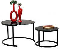 Комплект журнальных столиков CS-25 стекло имитация черного мрамора, стиль модерн
