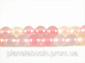 10 мм Кварц Морганит, Натуральный камень, Форма: Шар, Отверстие: 1-1.5 мм, кол-во: 38-40 шт/нить, фото 2