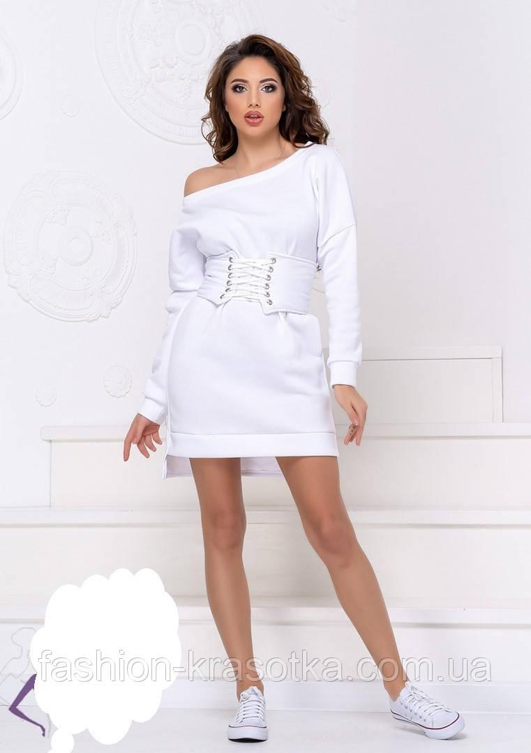 Теплое платье на флисе с корсетом,размеры:42-44,46-48.