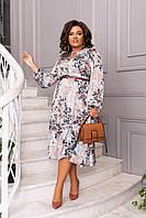 Шикарное женское платье принт цветы Голубой Большой размер