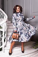 Платье женское нарядное шелковое миди Синий Большого размера