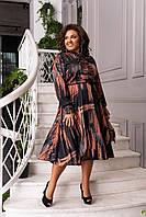 Платье женское нарядное шелковое миди Черный Большого размера