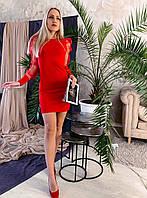 Трикотажное коктейльное платье рукав сетка Красный