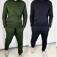 Костюм спортивный мужской, кофта кенгуру с капюшоном, модный, повседневный, модный, черный и хаки