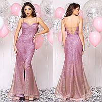 """Розовое длинное вечернее, свадебное платье рыбка """"Адриана"""""""