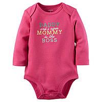 "Carters Боди ""Mommy's The Boss"" для девочки 6м, Розовый"