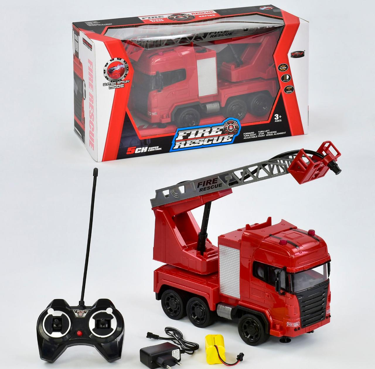 Машина пожарная на р/у 666-191 А аккумулятор 4.8V, брызгает водой, свет, звук,