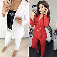 Костюм женский, брючный, деловой, повседневный, стильный, офисный, жакет на пуговицах, укороченные узкие брюки, фото 1
