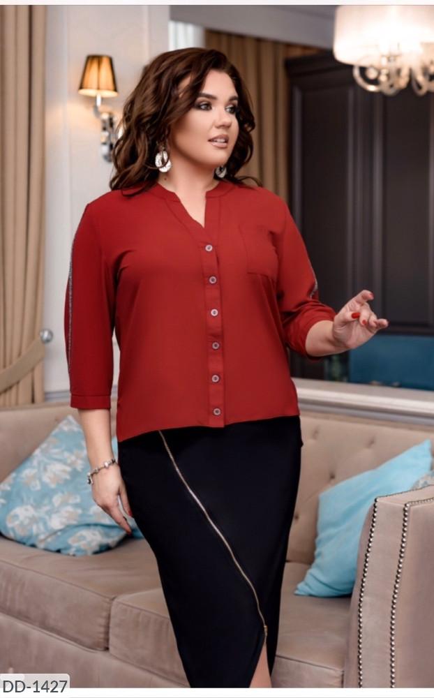 Рубашка женская нарядная блузка батал размеры 50 52 54 56 Новинка 2020 есть цвета