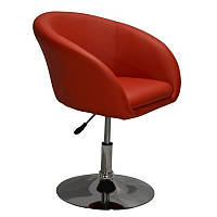 Крісло перукарське для клієнтів Мурат екошкіра, хромоване, червоне, диск