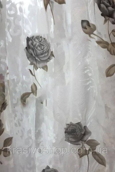 Тюль органза с рисунком  Розан Коричневий