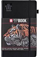 Блокнот Sakura Sketch, 140 г/м2, 13х21 см, 80 л, чорний папір, Sakura 94141003