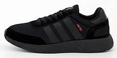 Мужские кроссовки Adidas Iniki Boost. Mono Black. ТОП Реплика ААА класса.