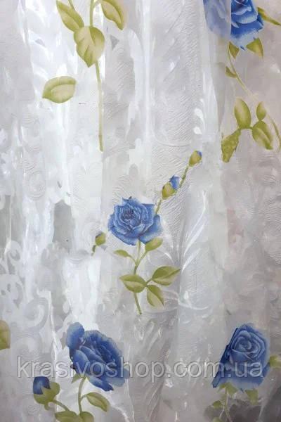 Тюль органза с рисунком   Розан Синий