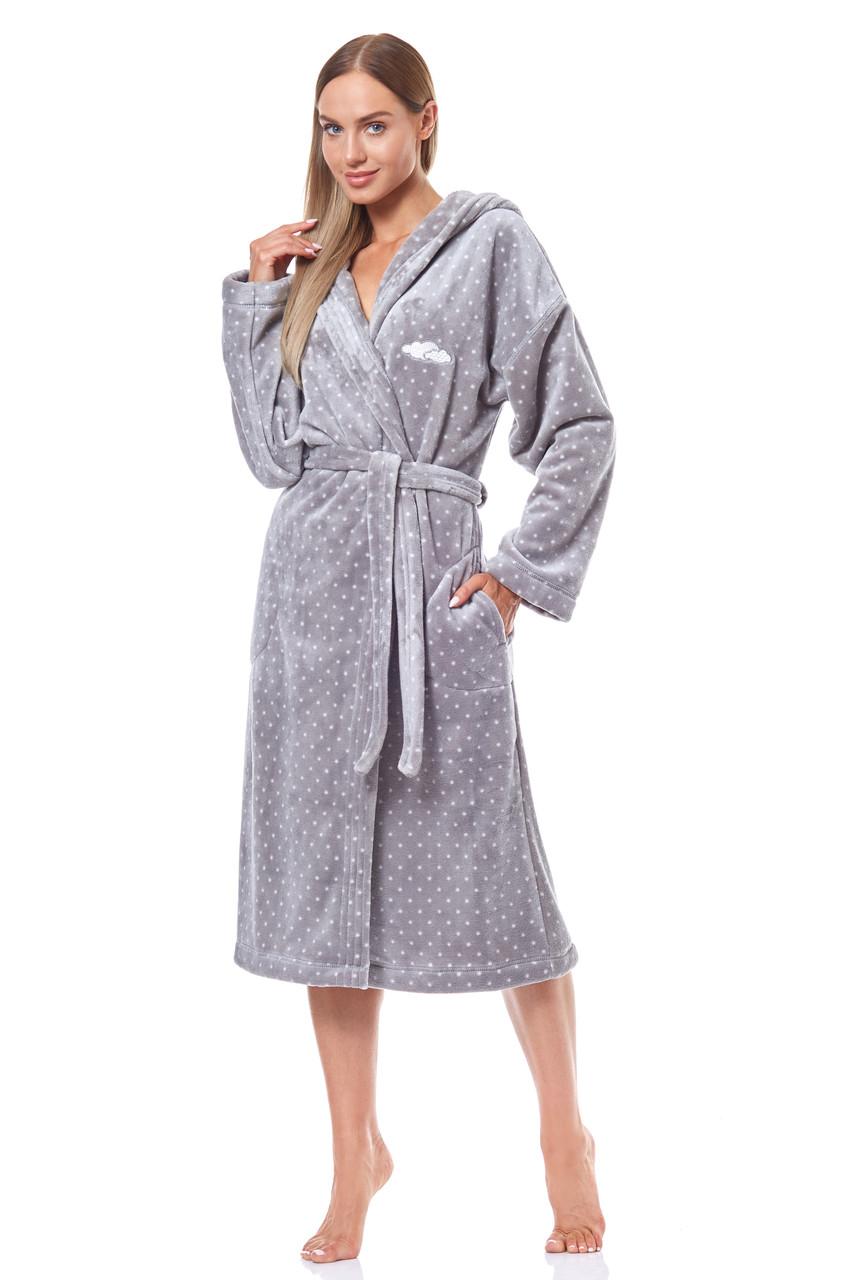 Жіночий довгий халат з капюшоном  L&L 9144 KRP (Польща)
