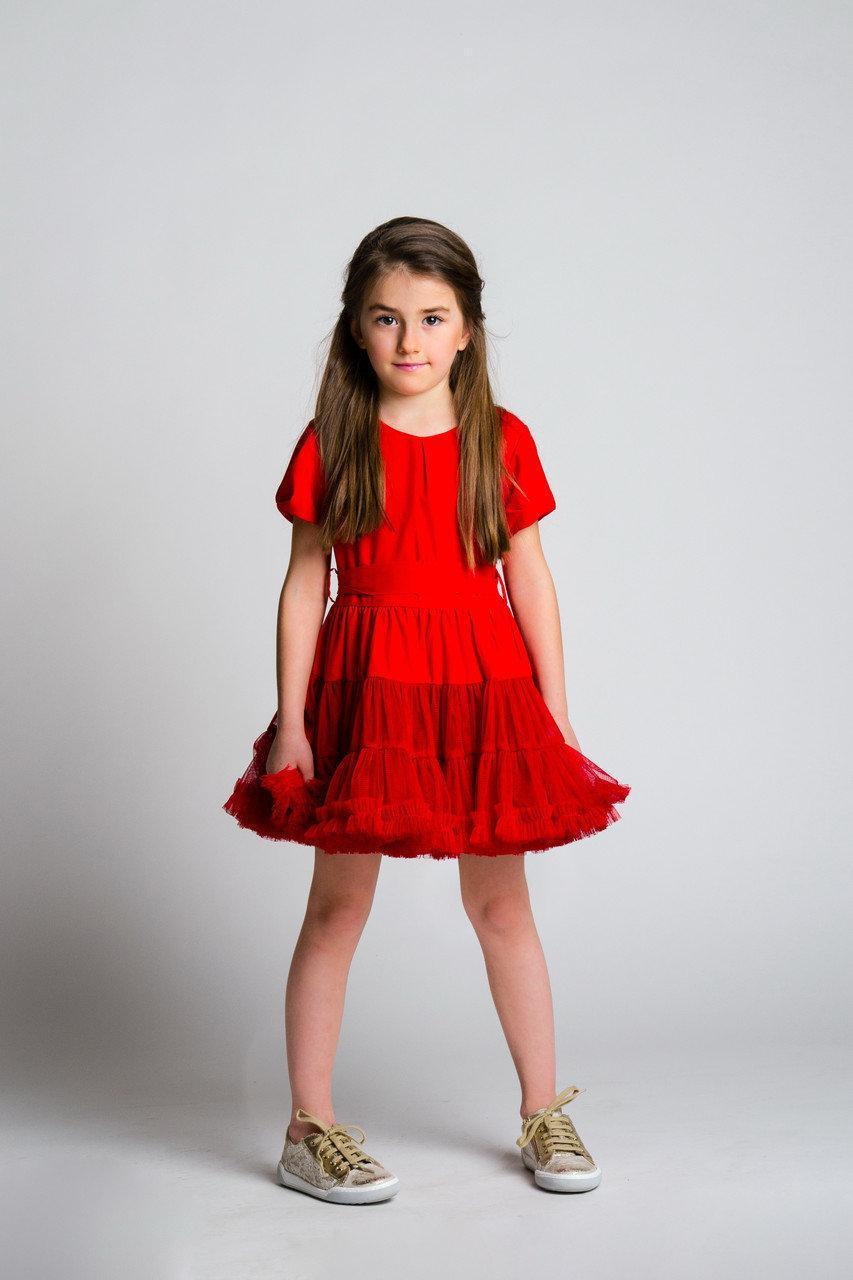 Нарядное платье для девочки FLAVIEN Украина 7046/01 красный
