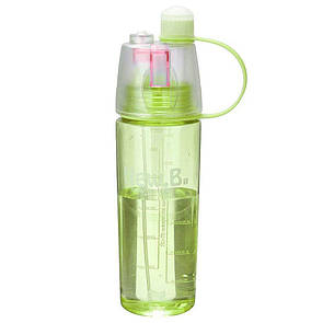 🔝 Бутылка для воды с распылителем, New.B, фитнес бутылка, 600 мл. - желто-салатовая   🎁%🚚