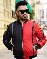 Мужская дизайнерская куртка-бомбер красно-черная