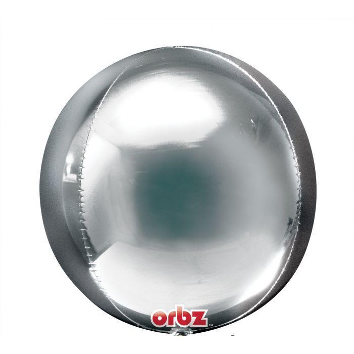 """Фольгированный шар 3d сфера А 16"""" Silver Orbz, в уп."""