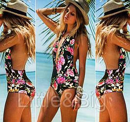 Красивый сплошной монокини купальник для пляжного отдыха S, XL
