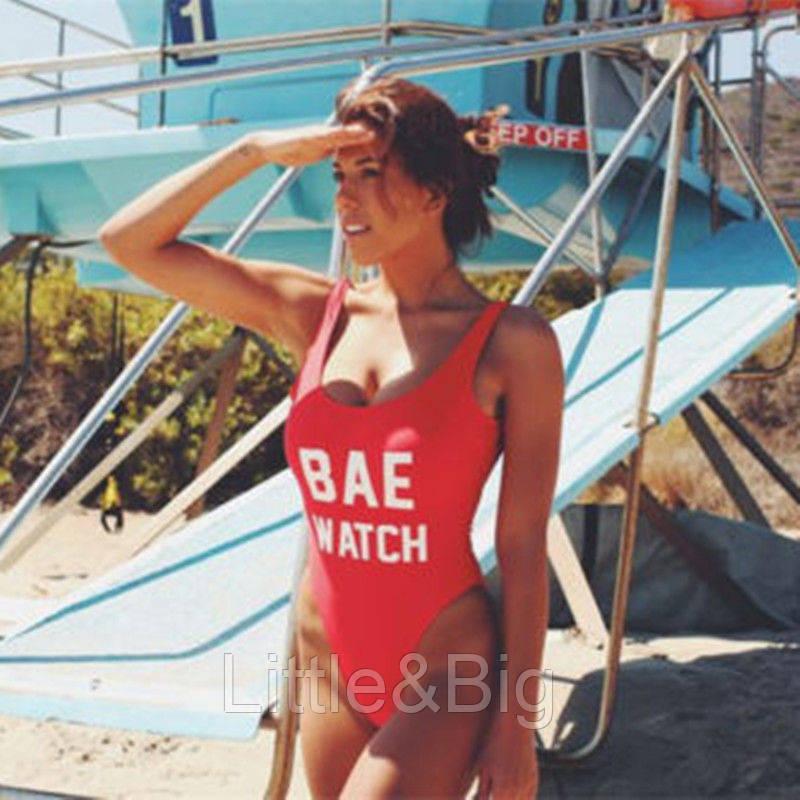 Сплошной монокини купальник Спасатели Малибу красный цвет размер L