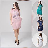 """Сукня жіноча полубатальное в квітами, розміри 52-56 (4кол) """"QUEEN"""" купити недорого від прямого постачальника"""