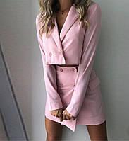 Женский ультрамодный костюм-двойка юбка на запах и укороченный пиджак