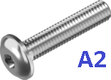 Винт с полукруглой головкой с буртиком и внутренним шестигранником (ISO7380-2 INB А2)