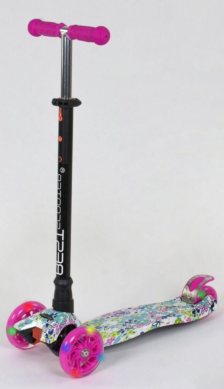 Детский Самокат Scooter со светящимися колесами Print Цветочки