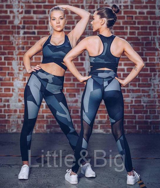 Женские леггинсы для фитнеса с принтом Графика S ОПТ и Дроп