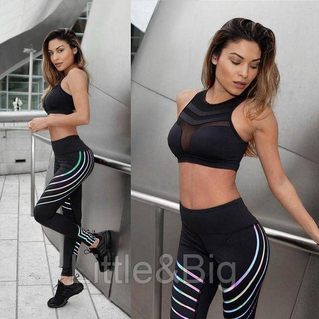 Черные женские леггинсы для фитнеса S